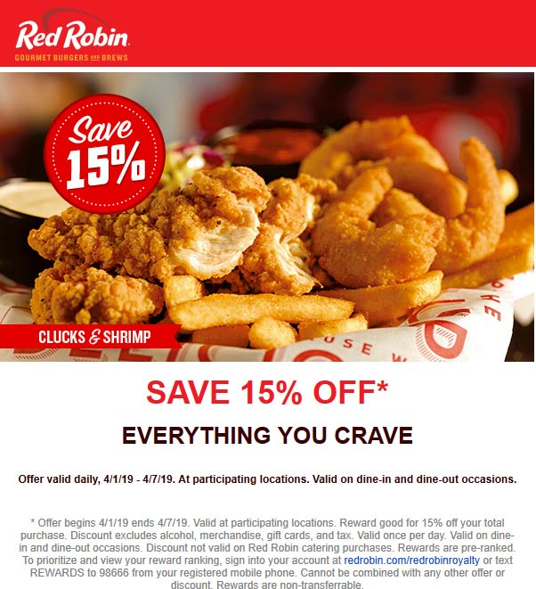 Red Robin coupons & promo code for [December 2020]