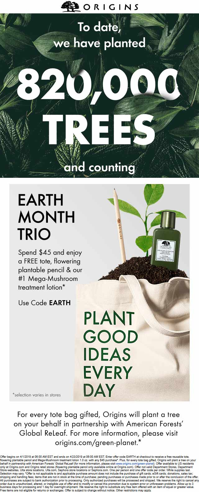Origins Coupon July 2020 Free tote + plantable pencil + lotion with $45 spent at Origins, or online via promo code EARTH