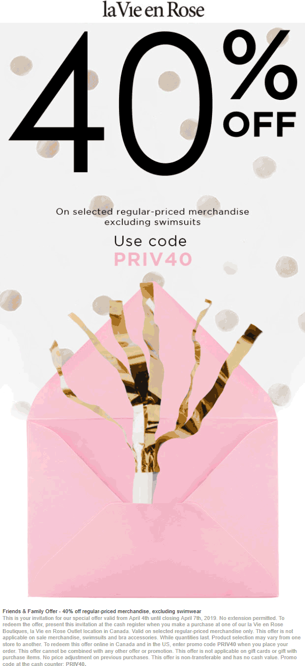 la Vie en Rose Coupon February 2020 40% off at la Vie en Rose, or online via promo code PRIV40