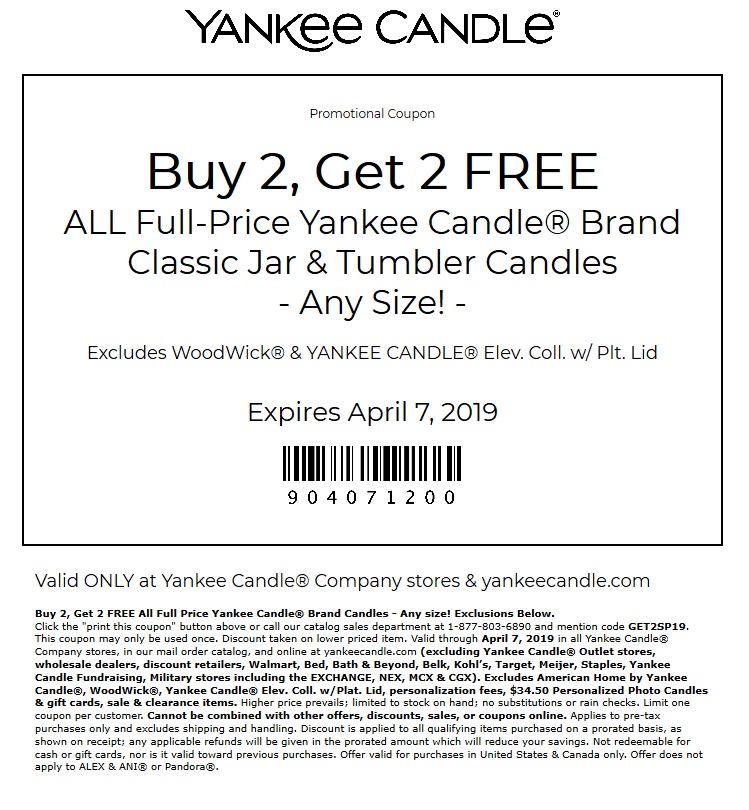 Yankee Candle Coupon August 2020 4-for-2 on candles at Yankee Candle, or online via promo code GET2SP19
