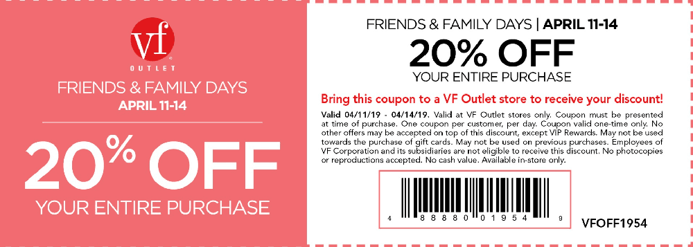 VF Outlet coupons & promo code for [July 2020]