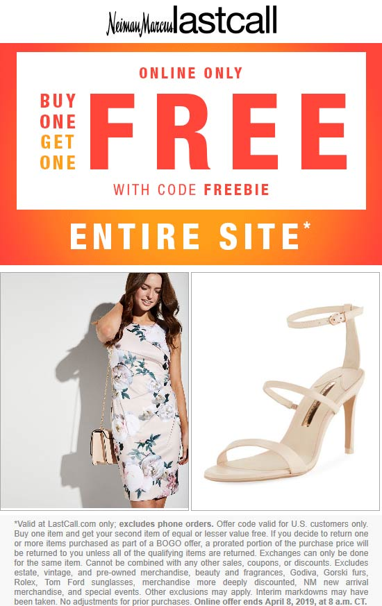 Last Call Coupon June 2020 Second item free on everything online at Neiman Marcus Last Call via promo code FREEBIE