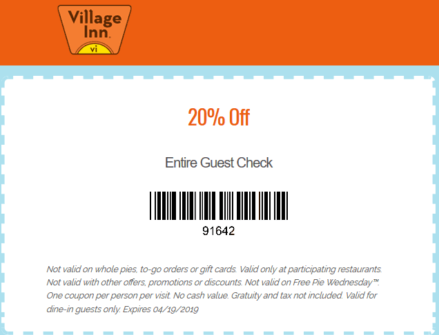Village Inn Coupon February 2020 20% off at Village Inn restaurants