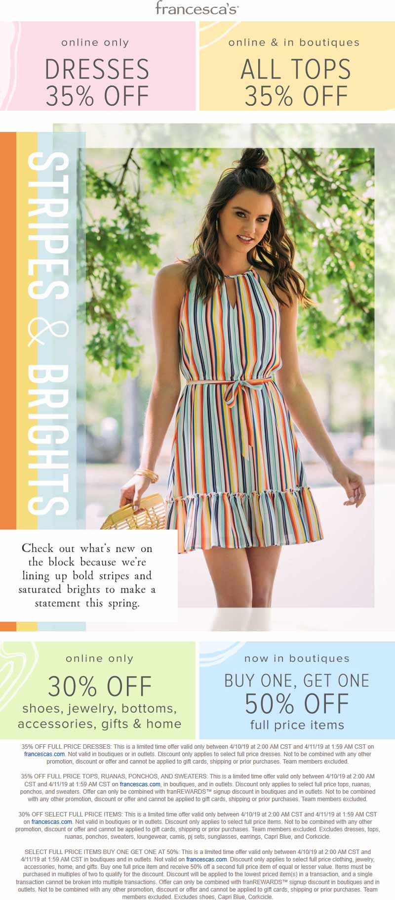 Francescas Coupon July 2020 Tops are 35% off at Francescas, ditto online