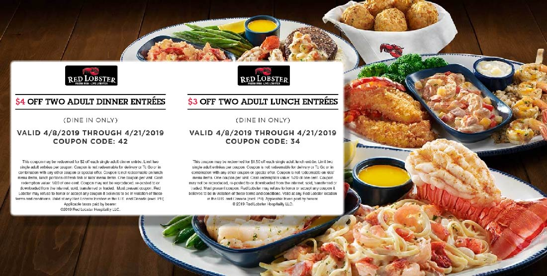 Red Lobster Coupon February 2020 $3-$4 off a couple entrees at Red Lobster