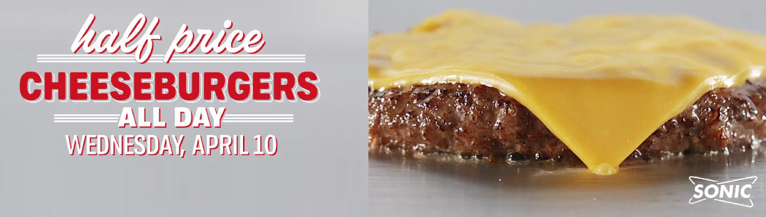 Sonic Drive-In Coupon July 2020 50% off cheeseburgers today at Sonic Drive-In restaurants