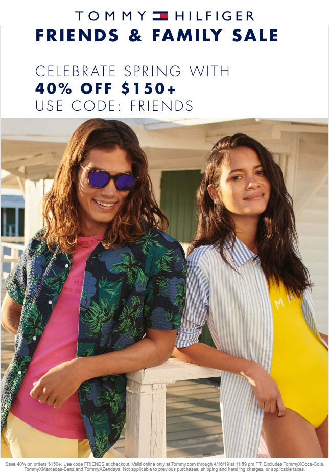Tommy Hilfiger Coupon February 2020 40% off $150 online at Tommy Hilfiger via promo code FRIENDS