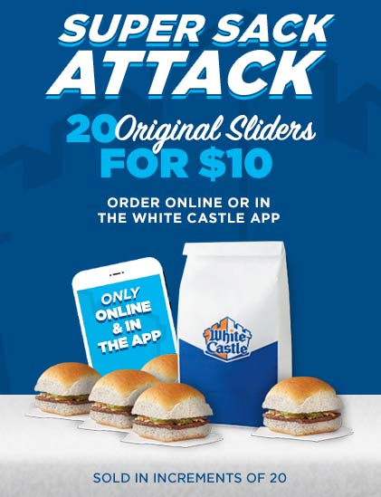 White Castle Coupon July 2020 20 sliders = $10 online at White Castle restaurants
