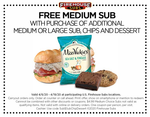 Firehouse Subs coupons & promo code for [August 2020]