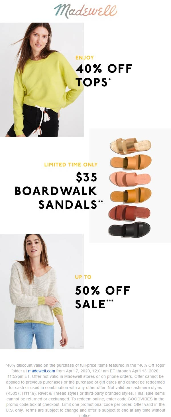Madewell coupons & promo code for [April 2021]