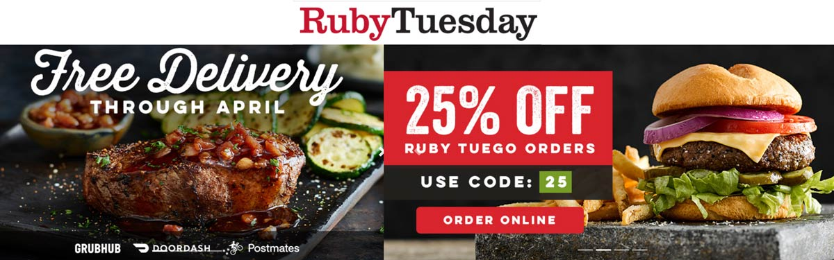 Ruby Tuesday coupons & promo code for [June 2020]