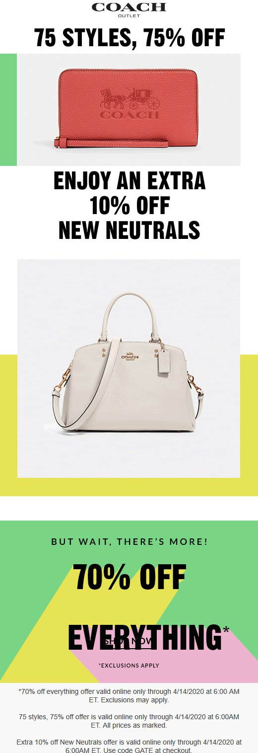 Coach Outlet coupons & promo code for [January 2021]