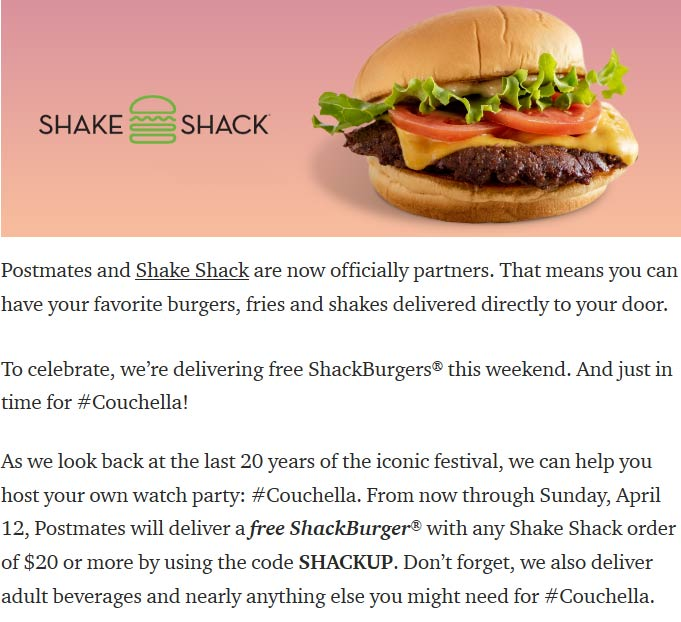 Shake Shack coupons & promo code for [April 2021]