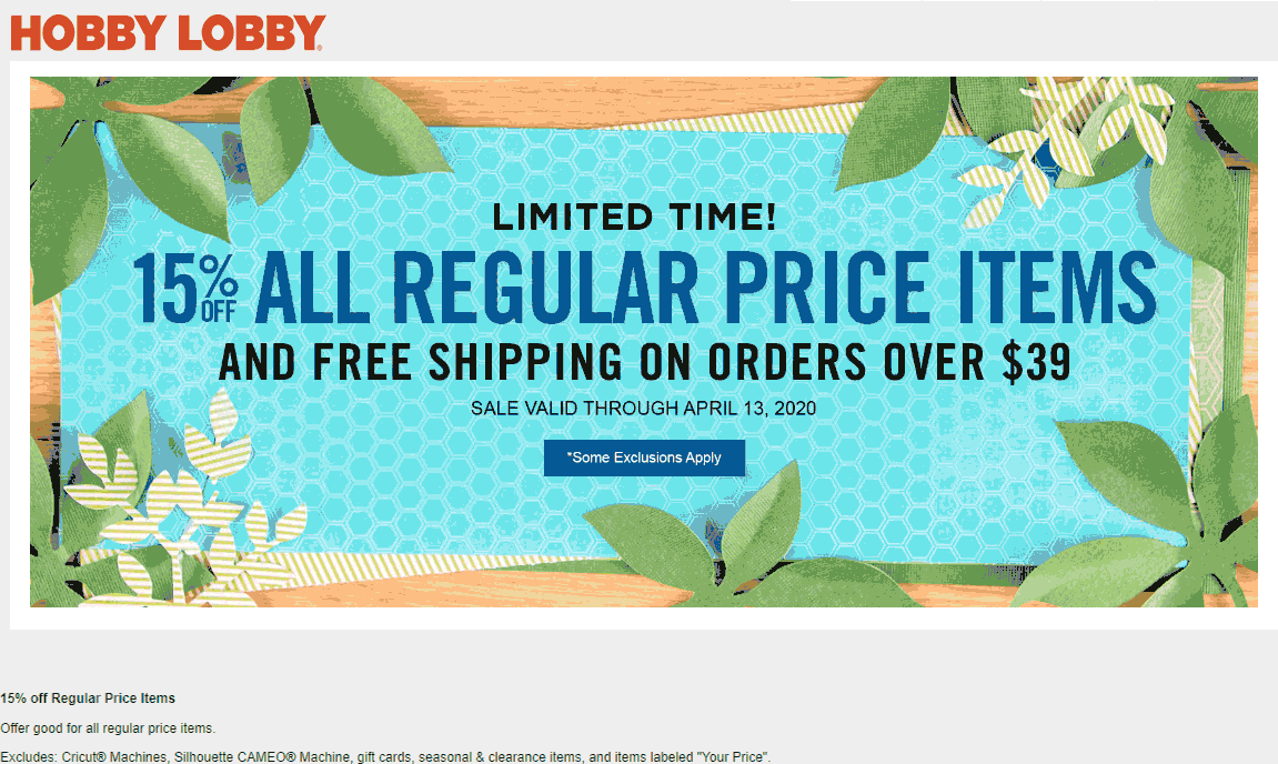 Hobby Lobby coupons & promo code for [August 2020]
