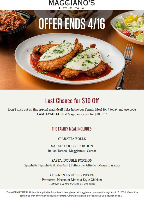 Maggianos Little Italy coupons & promo code for [June 2020]