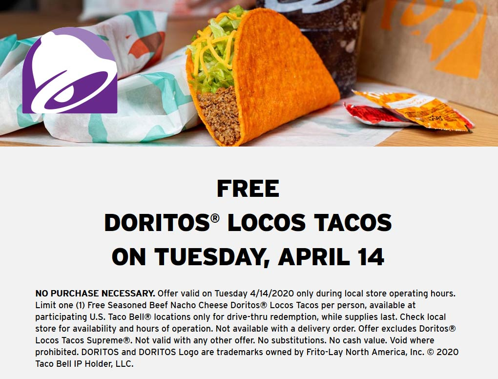 Taco Bell coupons & promo code for [August 2020]