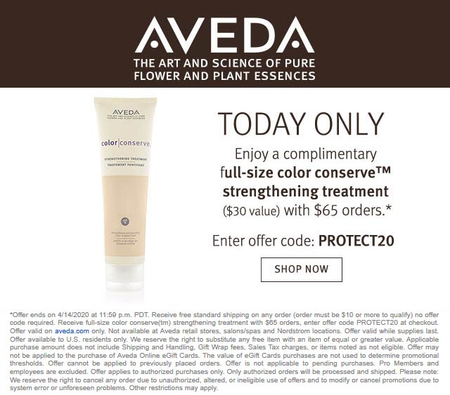 Aveda coupons & promo code for [June 2020]