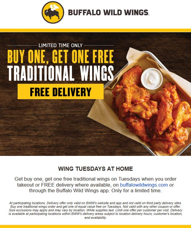 Buffalo Wild Wings coupons & promo code for [October 2020]