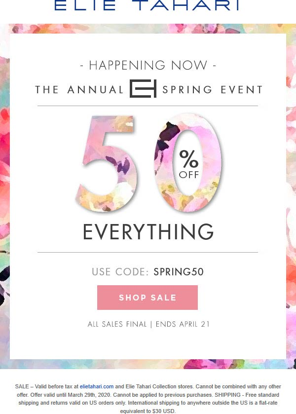 Elie Tahari coupons & promo code for [June 2020]