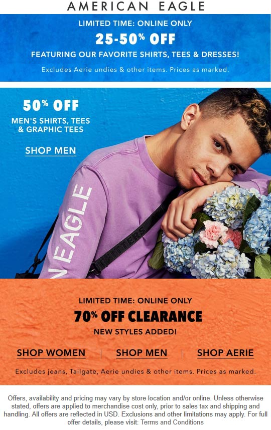 American Eagle coupons & promo code for [January 2021]
