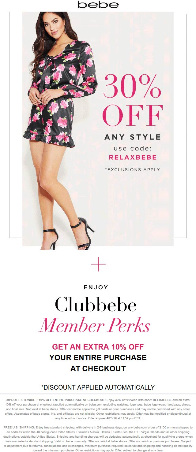 Bebe coupons & promo code for [April 2021]