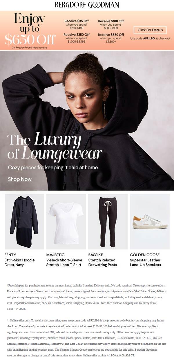 Bergdorf Goodman coupons & promo code for [October 2020]