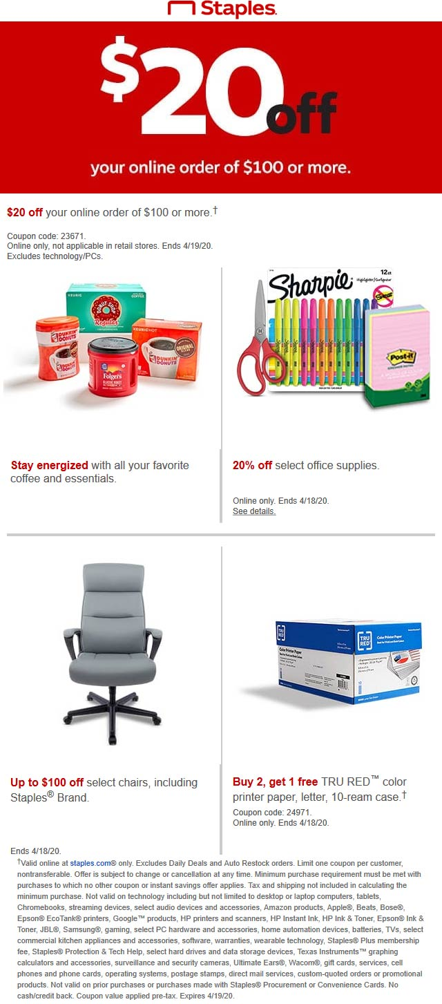 Staples coupons & promo code for [April 2021]