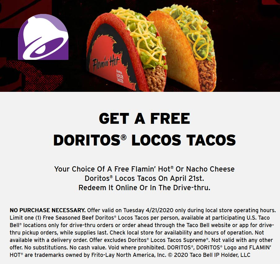 Taco Bell coupons & promo code for [January 2021]