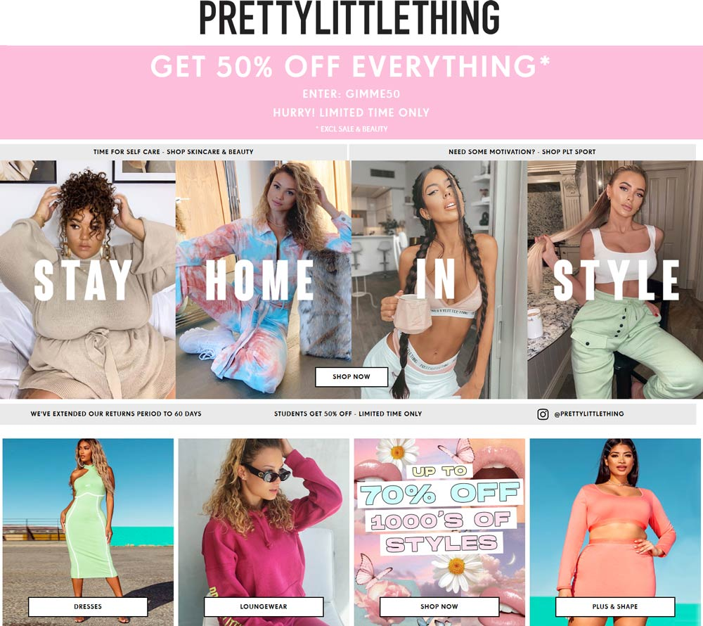 PrettyLittleThing coupons & promo code for [June 2020]