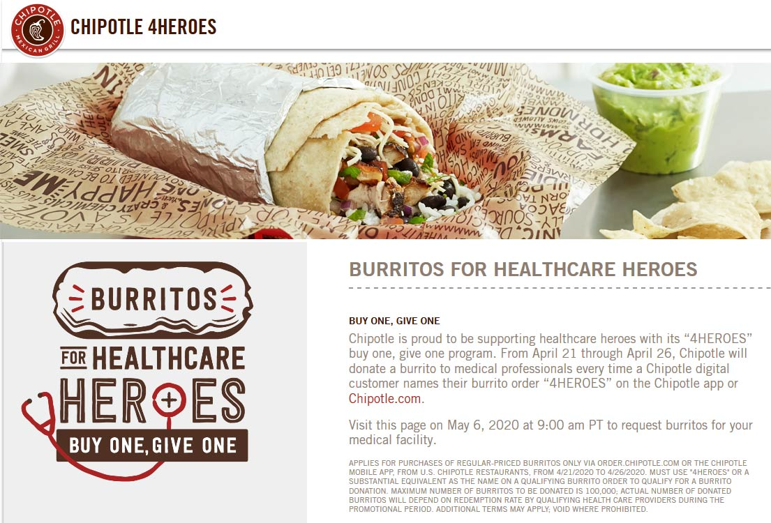 Chipotle coupons & promo code for [January 2021]