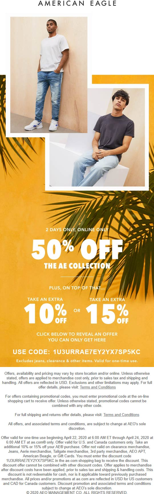 American Eagle coupons & promo code for [June 2020]