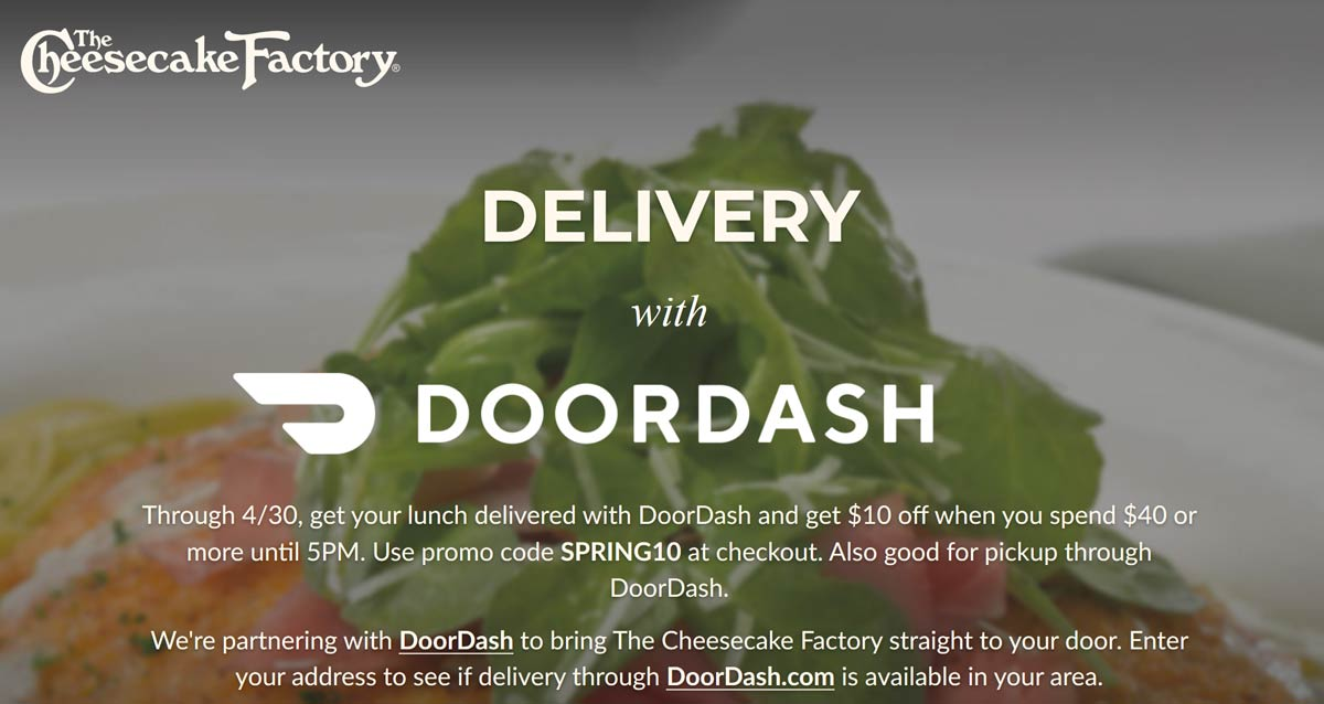 The Cheesecake Factory coupons & promo code for [October 2020]