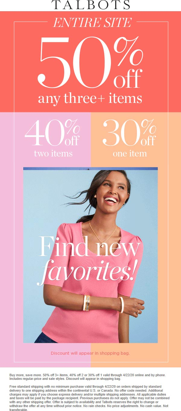 Talbots coupons & promo code for [June 2020]