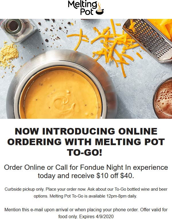 Melting Pot coupons & promo code for [June 2020]