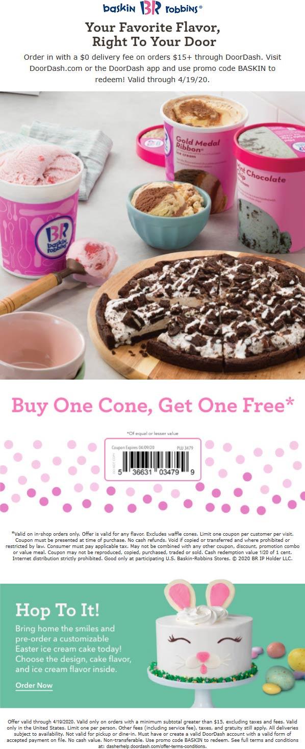 Baskin Robbins coupons & promo code for [June 2020]