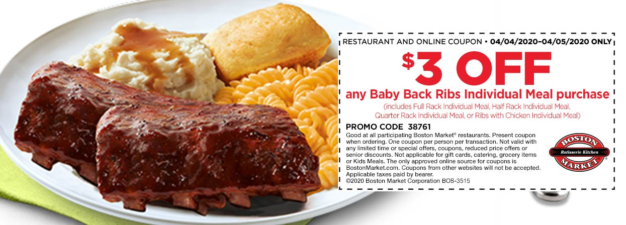 Boston Market coupons & promo code for [June 2020]