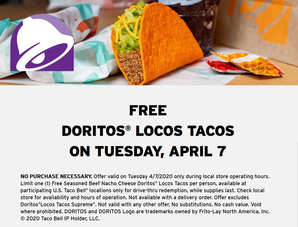 Taco Bell coupons & promo code for [June 2020]