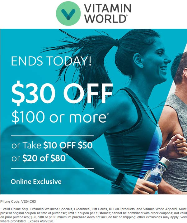 Vitamin World coupons & promo code for [August 2020]