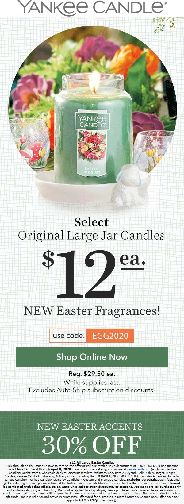 Yankee Candle coupons & promo code for [October 2020]