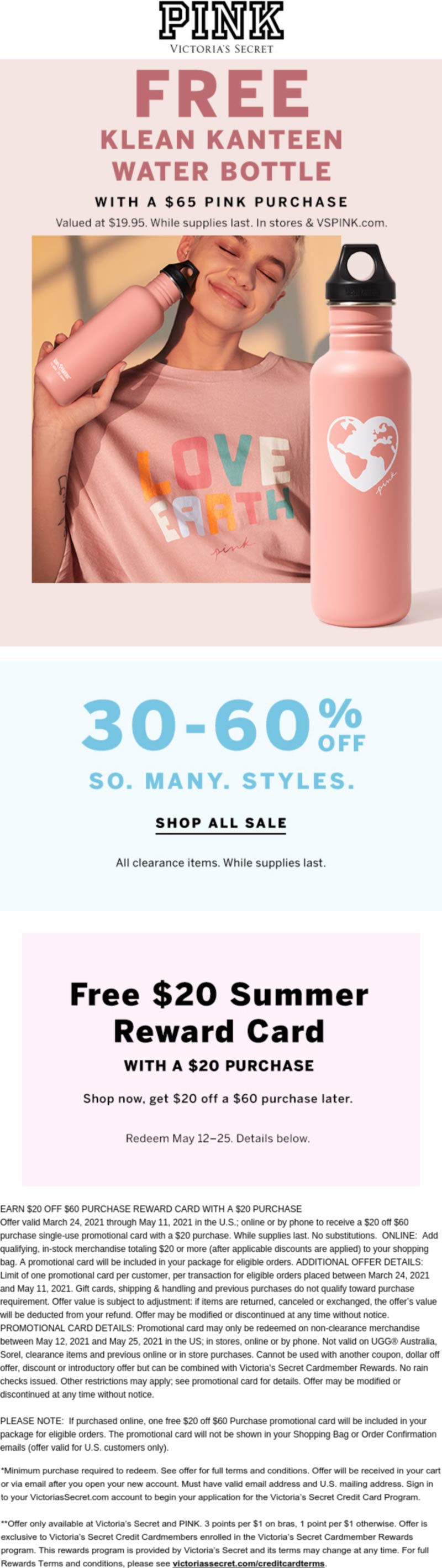 PINK stores Coupon  Free kanteen water bottle on $65 & more at Victorias Secret PINK, ditto online #pink