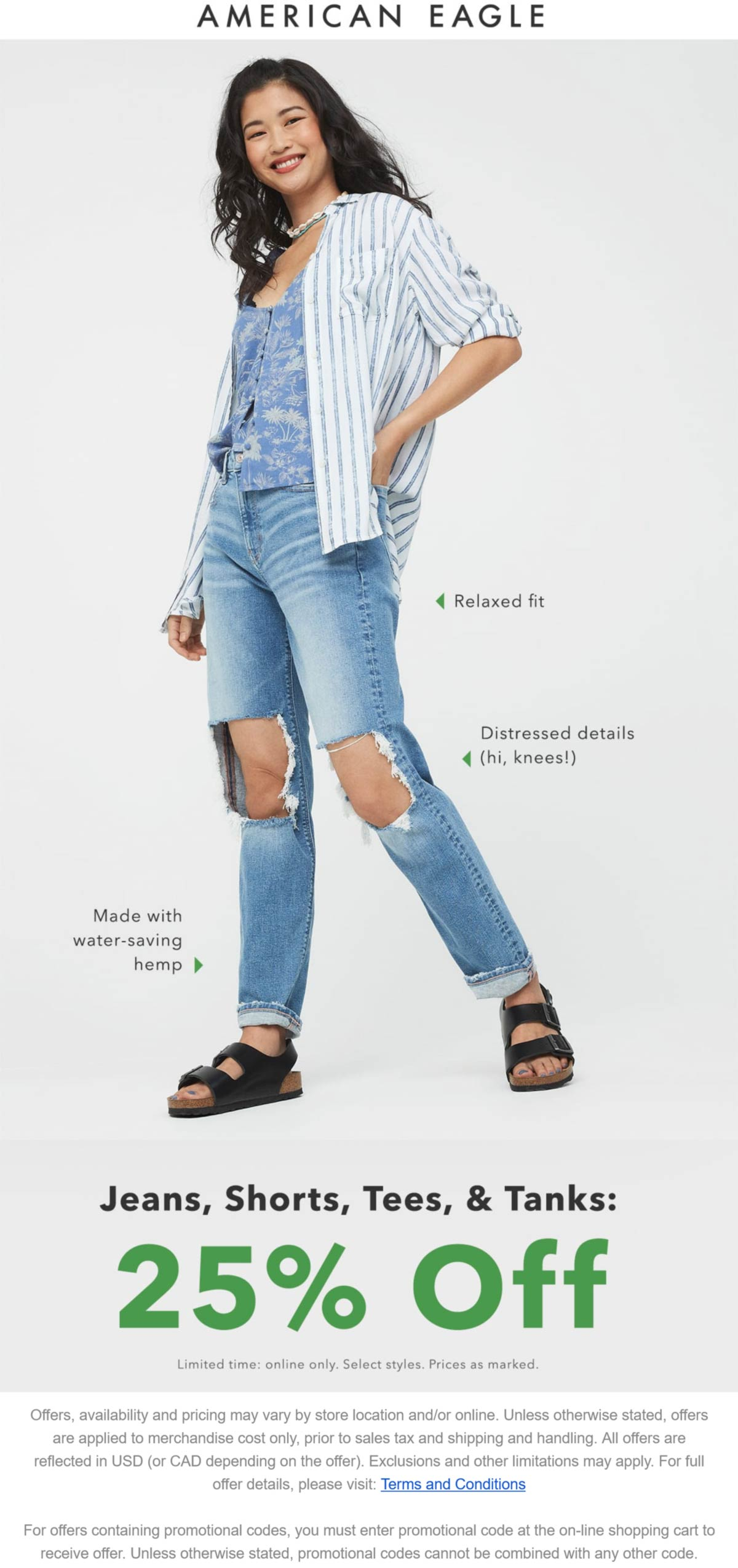 American Eagle stores Coupon  25% off jeans, shorts & tees online at American Eagle #americaneagle