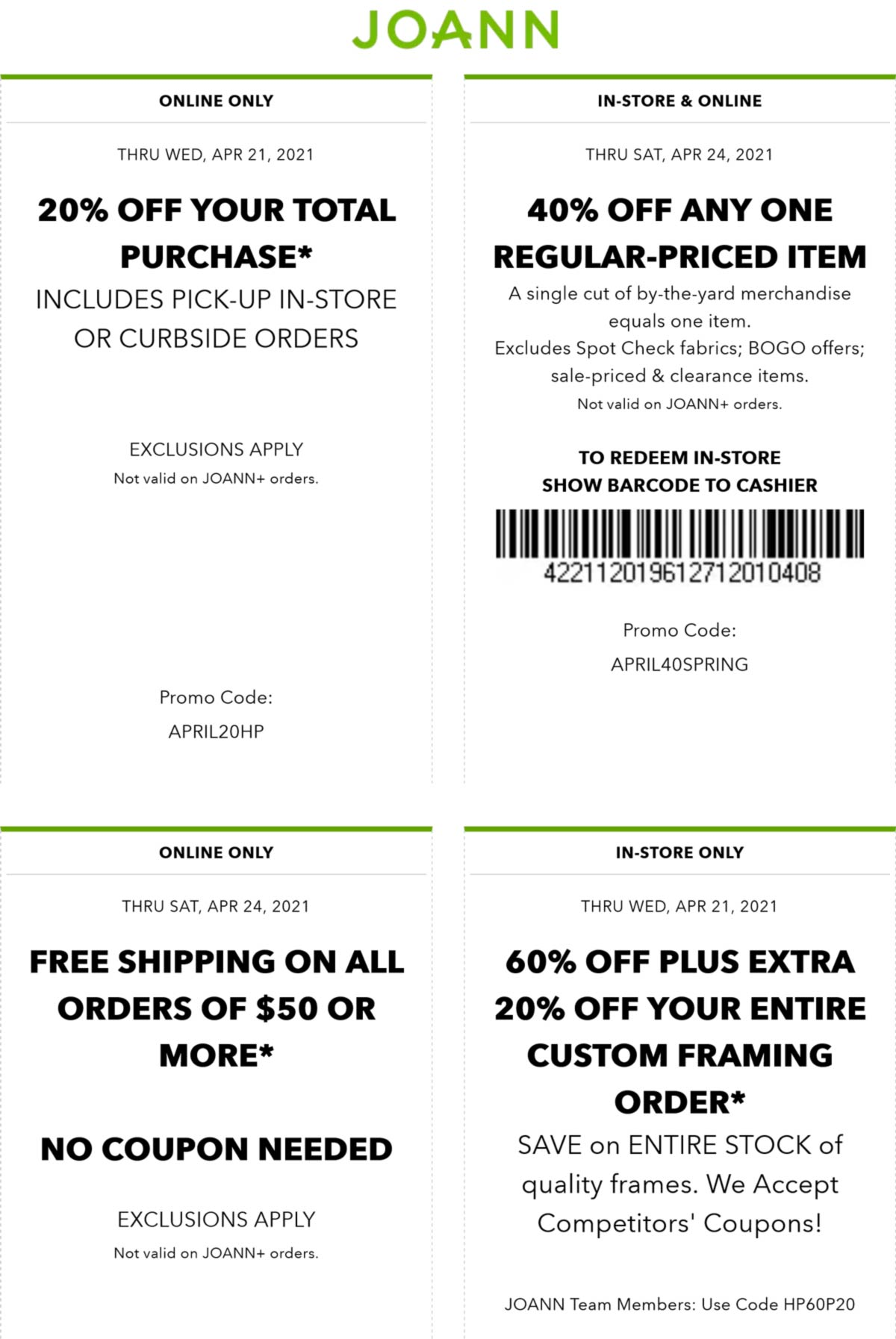 Joann stores Coupon  40% off a single item & more at Joann, or online via promo code APRIL40SPRING #joann