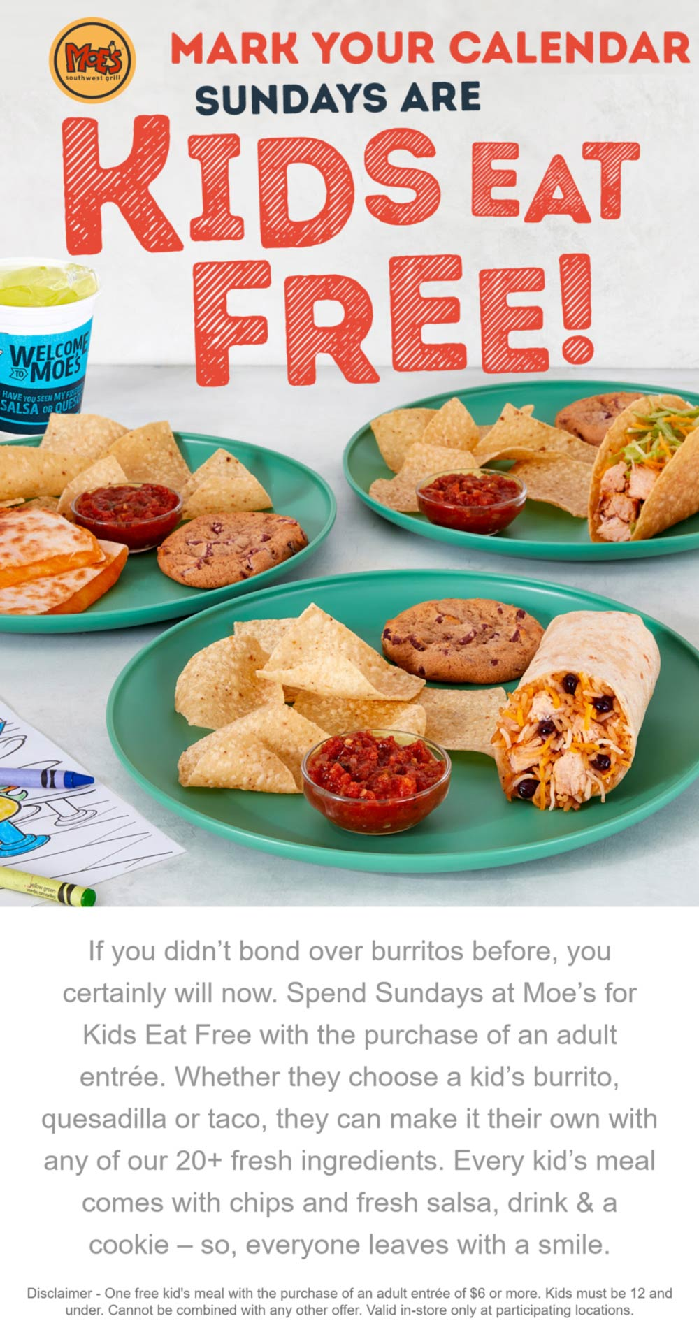 Moes Southwest Grill restaurants Coupon  Kids eat free Sundays with your entree at Moes Southwest Grill #moessouthwestgrill