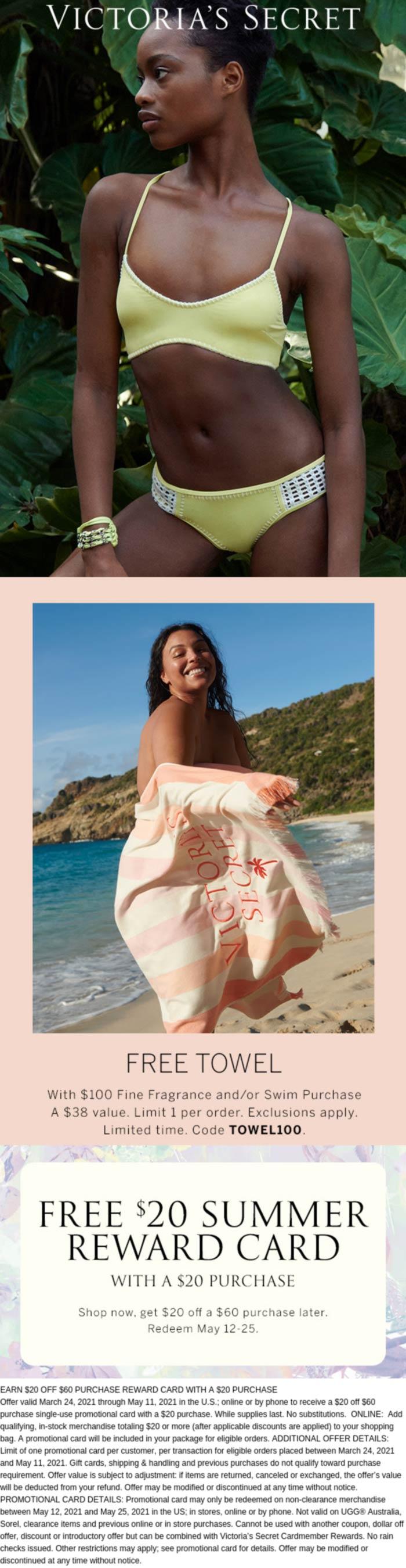 Victorias Secret stores Coupon  Free towel with $100 spent & more at Victorias Secret via promo code TOWEL100 #victoriassecret