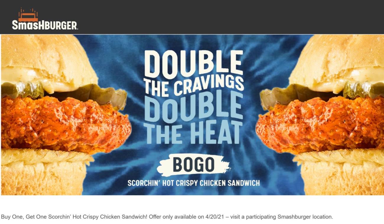 Smashburger restaurants Coupon  Second hot crispy chicken sandwich free today at Smashburger #smashburger