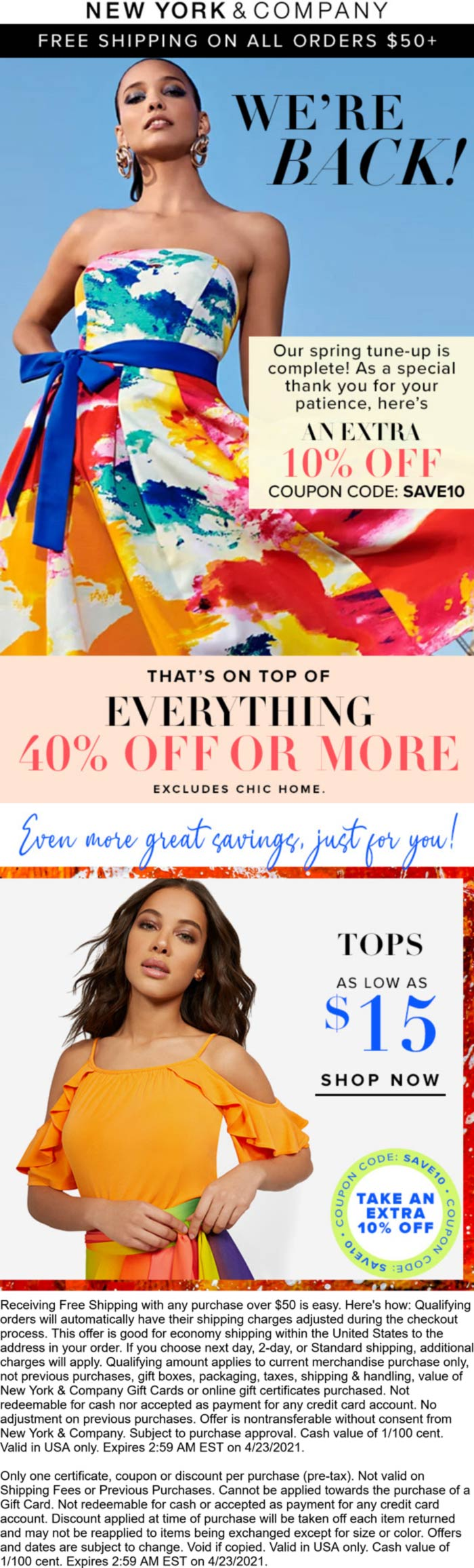 New York & Company stores Coupon  50% off everything today at New York & Company via promo code SAVE10 #newyorkcompany