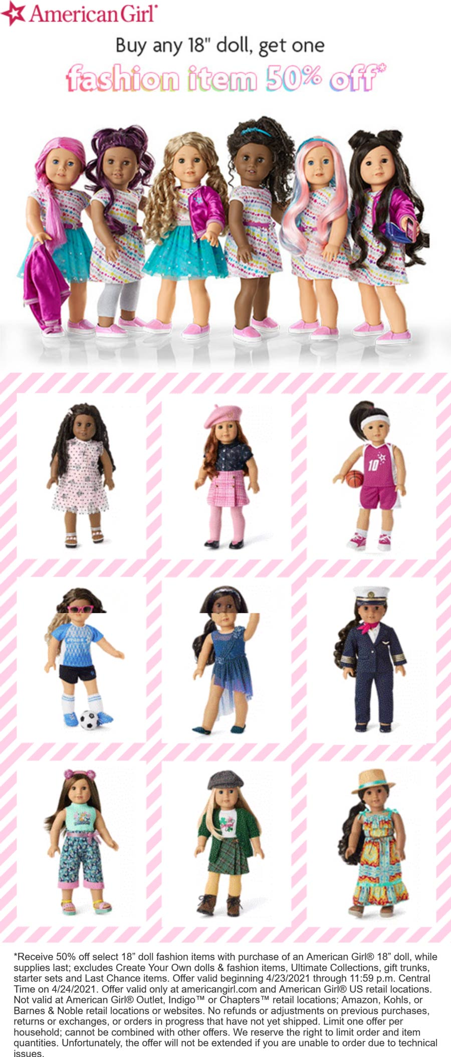 American Girl stores Coupon  50% off any fashion item with your doll today at American Girl, ditto online #americangirl