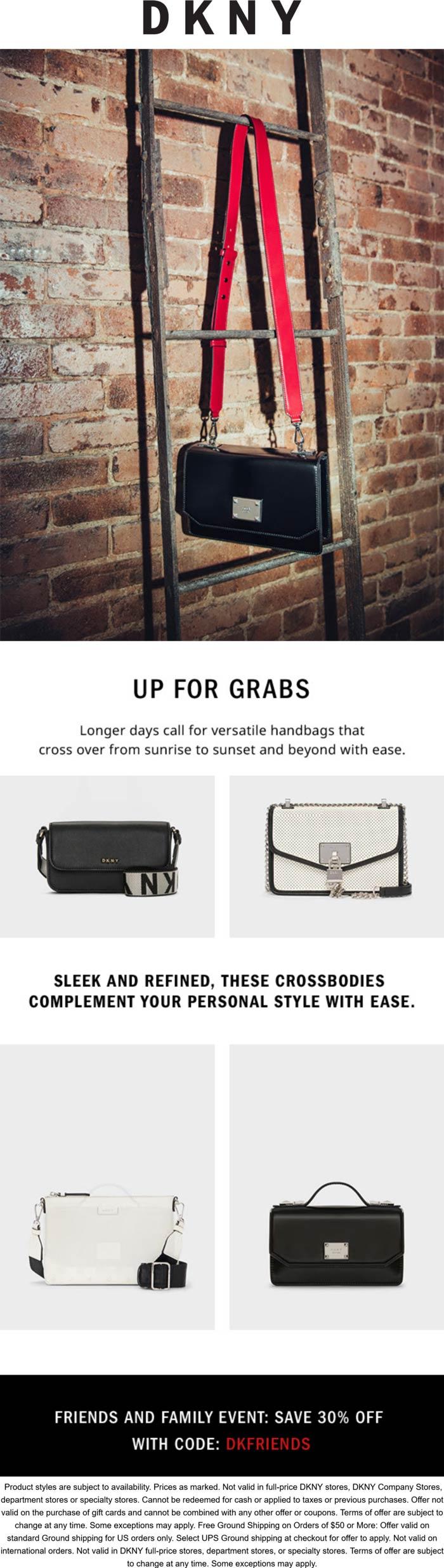 DKNY stores Coupon  30% off at DKNY via promo code DKFRIENDS #dkny