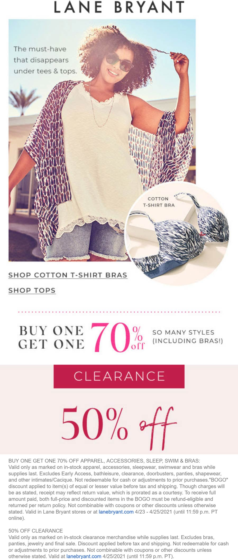 Lane Bryant stores Coupon  Second item 70% off + 50% off clearance today at Lane Bryant, ditto online #lanebryant