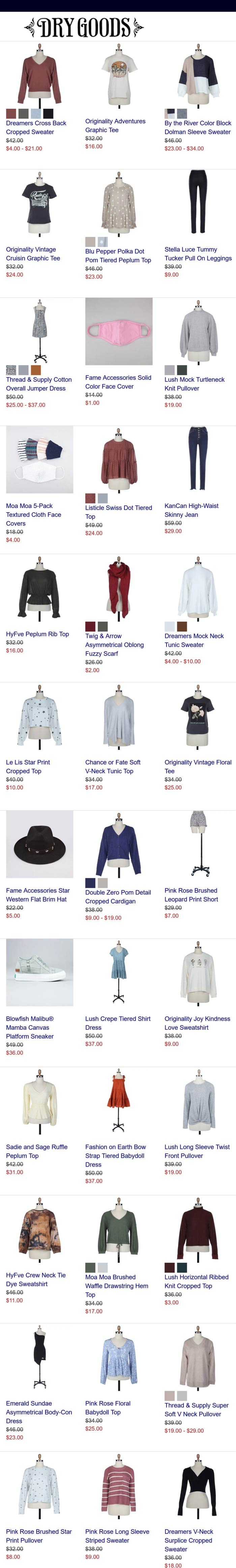 Dry Goods stores Coupon  50-80% off sale going on at Dry Goods, ditto online #drygoods